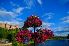 Ajardine un viaje a Escocia hermosa, una vista magnífica del puente y de la parte de la ciudad fotos de archivo