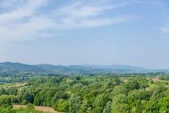 Ajardine a vila povoada parte traseira cercada com floresta grossa sobre Foto de Stock Royalty Free