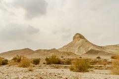 Ajardine a vista cênico na rocha e lixe-a no deserto seco em Israel Fotografia de Stock Royalty Free