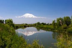 Ajardine a vista da montagem de Ararat refletiu no rio de Imagem de Stock