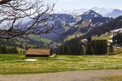 Ajardine a vista da montanha da neve dos cumes com bonde bonde Imagem de Stock