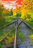 Ajardine a vista de estradas de ferro velhas na noite do outono Fotos de Stock Royalty Free
