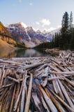 Ajardine a vista do lago moraine com as árvores inoperantes em montanhas rochosas canadenses Fotos de Stock
