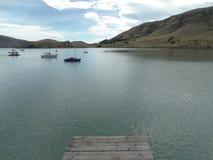 Ajardine a vista dos barcos e dos montes em uma das baías perto de anterbury, Nova Zelândia Imagens de Stock Royalty Free