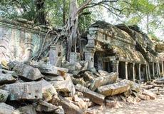 Ajardine a vista dos templos em Angkor Wat, Siem Reap, Camboja Fotografia de Stock Royalty Free