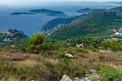 Ajardine a vista em Cap Ferrat, agradável, Provence, França Fotos de Stock Royalty Free
