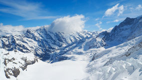 Ajardine a vista em Jungfraujoh com fundo do céu azul Imagens de Stock