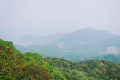 Ajardine a vista na montanha do Ra de Khao - a montanha a mais alta na ilha de Koh Phangan, Tailândia Imagem de Stock Royalty Free