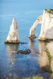 Ajardine a vista no litoral rochoso em Etretat Fotografia de Stock