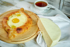Ajarian traditional flatbread - khachapuri or hachapuri Stock Photos