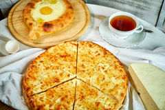 Ajarian traditional flatbread - khachapuri or hachapuri Stock Images