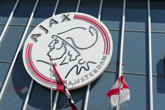 Ajax Amsterdam logo on Amsterdam Arena Stock Photo