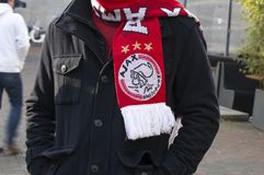 Ajax Supporters Shawl At Amsterdam-Nederland 2019 royalty-vrije stock foto's