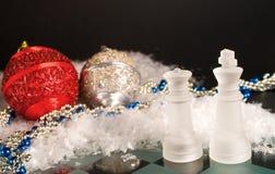 Ajedrez de la Navidad Foto de archivo