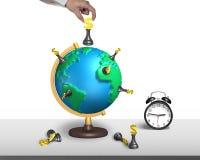 Ajedrez del dólar del control de la mano en el globo del mapa 3d con el reloj Imágenes de archivo libres de regalías
