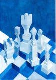 Ajedrez del hielo de la pintura de la acuarela Foto de archivo libre de regalías