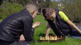 Ajedrez del juego de dos muchachos en hierba en parque almacen de video