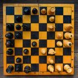 Ajedrez del vintage - juego de mesa Foto de archivo