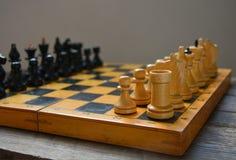 Ajedrez del vintage - juego de mesa, figuras negras Foto de archivo libre de regalías