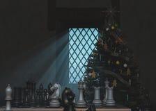 Ajedrez en el árbol de navidad Imágenes de archivo libres de regalías