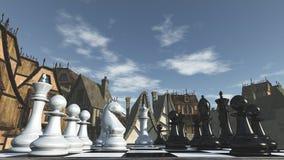 Ajedrez en los alrededores medievales Foto de archivo