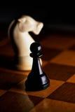 Ajedrez en un tablero de ajedrez Foto de archivo libre de regalías