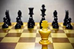 Ajedrez. Rey blanco contra todos. Imagen de archivo libre de regalías