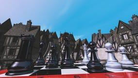 Ajedrez y la ciudad medieval Foto de archivo libre de regalías