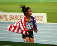 Ajee Wilson the winner of the 800 meters final. On the 2012 IAAF World Junior Athletics Championships on July 12, 2012 in Barcelona, Spain Stock Image