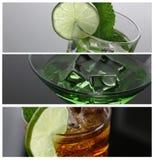 Ajenjo del cóctel con la vodka en el vidrio de martini foto de archivo