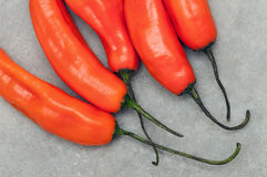 Aji amarillo hot chili peppers on stone background. Group of Peruvian aji amarillo hot chili peppers on stone background from above Royalty Free Stock Photography