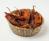 Aji amarillo. Seco, dried yellow chili peppers from Peru Stock Photo