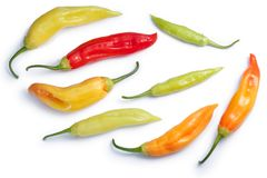 Aji Cristal C. baccatum chile, paths, top view. Aji Cristal chile peppers C. baccatum, ripe, unripe pods. Clipping paths, shadows separated, top view Stock Photo