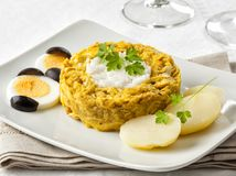 Aji de gallina. Typical chicken dish from Peru Stock Photo