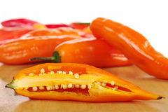 Aji, Peruvian Hot Pepper. On wooden board Stock Images