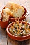 Ajillo d'Al de Champinones, champignons de couche d'ail Photographie stock libre de droits