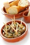 Ajillo d'Al de Champinones, champignons de couche d'ail Photo libre de droits