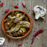 Ajillo d'Al de Conejo, une recette espagnole typique de lapin Image stock