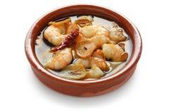 Ajillo d'Al de vétivers, crevettes roses d'ail, tapas espagnols Photo stock