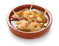 Ajillo d'Al de vétivers, crevettes roses d'ail, tapas espagnols Photos libres de droits