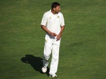 Ajit Agarkar Bowling Foto de archivo libre de regalías
