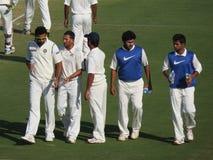Cricket Match-Ajit Agarkar-Zahir Khan discussing. Stock Image