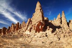 ajjer阿尔及利亚沙漠n撒哈拉大沙漠tassili 图库摄影