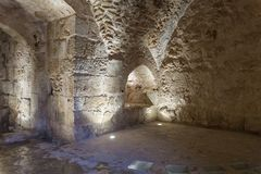 Ajloun城堡的内在大厅,亦称卡拉特ar拉瓦德,是在约旦西北部位于的12世纪回教城堡,在t附近 图库摄影