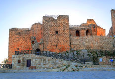 Ajloun castle in ruins. Is located in Jordan on a sunny day royalty free stock photos