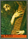 AJMAN - 1972: shows Jesus with the cross by Luis de Morales Stock Images