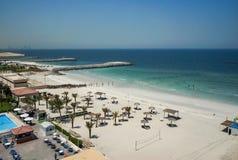 Ajman Août 2016 Hôtel Ajman Saray de plage La vue de la salle au golfe Persique Photo stock