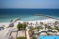 Ajman Août 2016 Hôtel Ajman Saray de plage La vue de la salle au golfe Persique Images stock