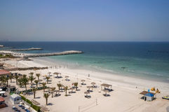 Ajman. August 2016. Beach hotel Ajman Saray. The view from the room to the Persian Gulf Stock Photography