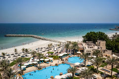 Ajman. August 2016. Beach hotel Ajman Saray. The view from the room to the Persian Gulf Stock Photos